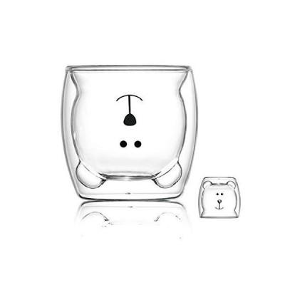 かわいいマグカップグラス二重壁断熱ガラスエスプレッソカップ、コーヒーカップ、ティーカップ、ミルクカップ、オフィスや個人の誕生日に最適なギフト (ハッピ