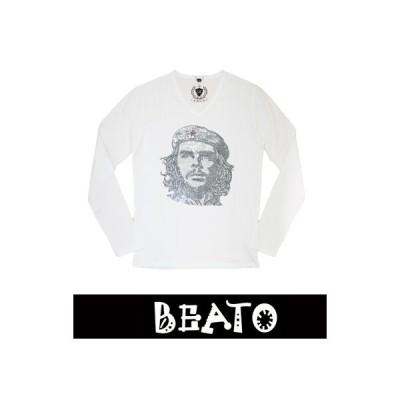 ★2017秋冬新作★【BEATO】ベアート ロングTシャツ 長袖 ラインストーン 白×モノトーンゲバラ Vネック