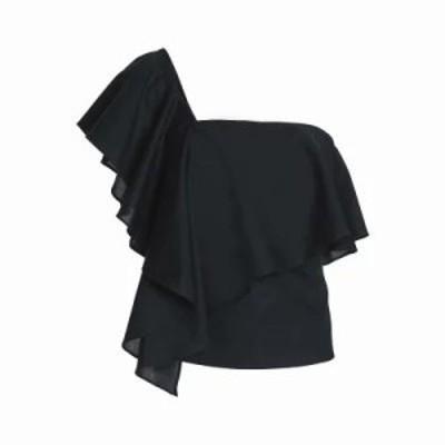 ミリー その他トップス Cascade one-shoulder ruffled cotton top Black
