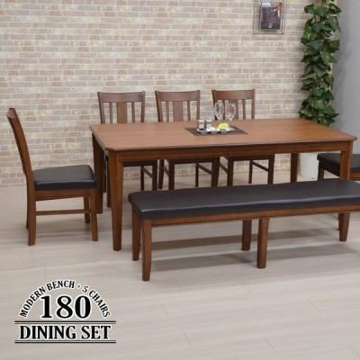 ダイニングテーブルセット 7点セット 8人掛け 幅180cm 木製 クッション maiku180-7ben-371burod-fab 椅子5脚 ベンチチェア モダン アウトレット 41s-5k m80hr