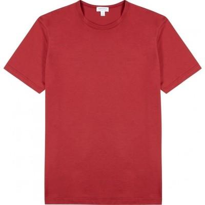 サンスペル Sunspel メンズ Tシャツ トップス Red Cotton T-Shirt Red