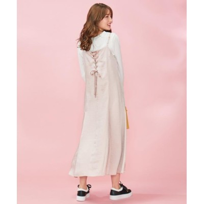 (Feroux/フェルゥ)【洗える】サテンキャミ ドレス/レディース ベージュ