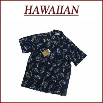 フラガール ビーチ柄 半袖 レーヨン100% アロハシャツ メンズ