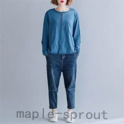 シャツシャツブラウストップスプルオーバーレディース秋夏ラウンドネック長袖スプライス無地綿混ゆったり体型カパーカジュアル30代40代
