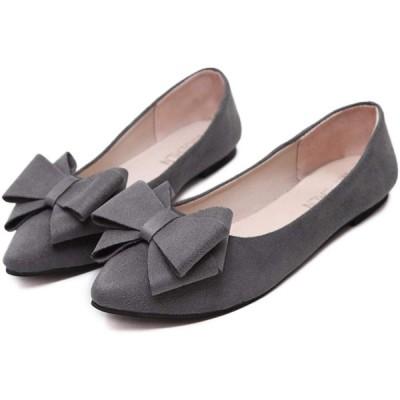 KiKi&Gil レディース フラットシューズ パンプス ローヒール ペタンコ靴 歩きやすい リボン (グレー 24cm)
