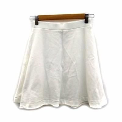 【中古】ローズバッド ROSE BUD スカート フレア ミニ丈 スウェット 無地 F 白 ホワイト /SY23 レディース