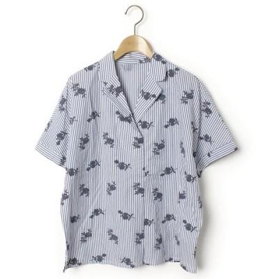 シャツ ブラウス ストライプ柄半袖シャツ