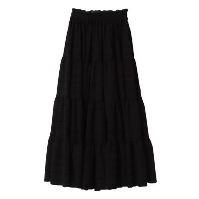 エイミーイストワール eimy istoire シアーチェックティアードスカート (BLACK)