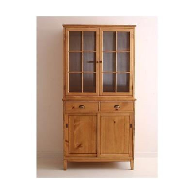 カップボード キッチンキャビネット Rustic Once パイン材オーダー家具シリーズ カップボード  食器棚 無垢 木製 カントリー カフェ ナチュラル モダン P-203