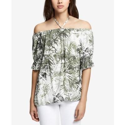レディース 衣類 トップス Womens Small Off Shoulder Leaf-Print Blouse S ブラウス&シャツ