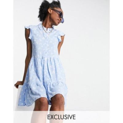 ストラディバリウス Stradivarius レディース ワンピース ノースリーブ シャツワンピース ワンピース・ドレス sleeveless shirt dress in blue floral ブルー