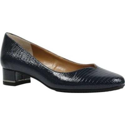 ジェイレニー レディース オックスフォード シューズ Bambalina Low Block Heel Pump Navy Lizard Print Patent Leather