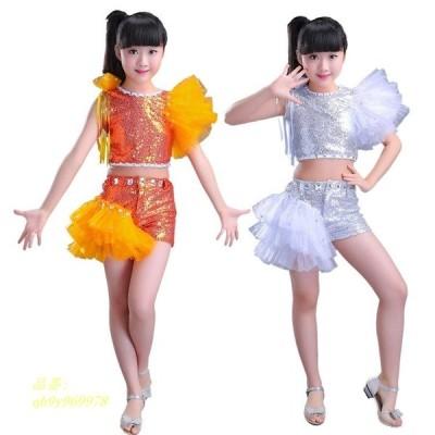 発表会で着るなら是非! セット チュチュスカート 快適 演出服 学園祭 スパンコール 子供 プリンセス ファッション 女の子 こどもの日 層付き へそ出し
