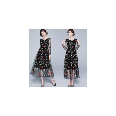 パーティードレス 結婚式ドレス 総レース 花柄刺繍 ワンピース ブライズメイド ドレス 二次会 お呼ばれ 20代 30代 40代 ロングドレス 卒業式 エンパイア