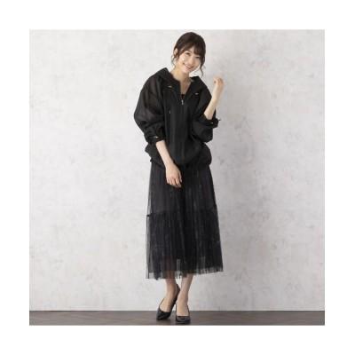 Rose Tiara/ローズティアラ フラワープリントチュールスカート ブラック 38