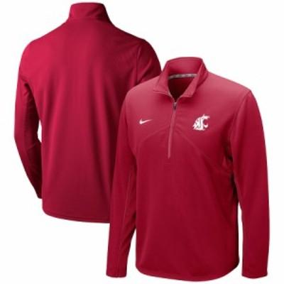 """ナイキ メンズ ジャケット """"Washington State Cougars"""" Nike Primary Logo Training Performance Quarter-Zip Jacket - Crimson"""