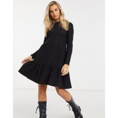 ニュールック レディース ワンピース トップス New Look long sleeved tiered smock dress in black crinkle Black