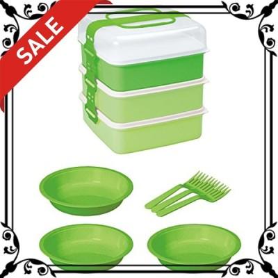 サンコープラスチック 弁当箱 ピクニックケース リオパック L型 3段 取り皿3枚・フォーク3本付き グリーン 約W23