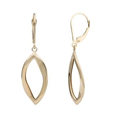 14k イエロー ゴールド マーキス Leverback Earrings(海外取寄せ品)