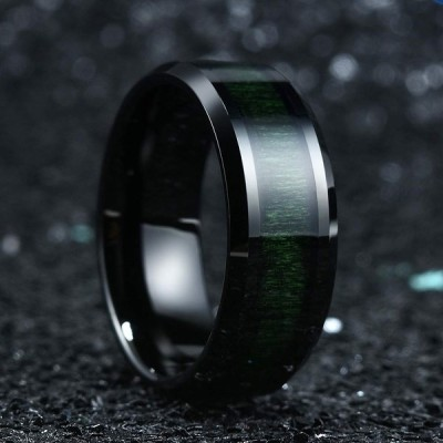 King Will Nature 8mm Mens Black Tungsten Carbide Wedding Ring Green Wo