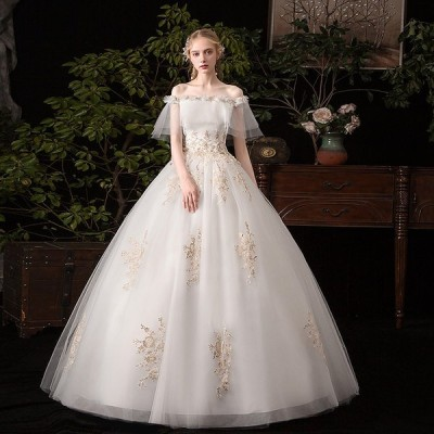 ウエディングドレス レディース 前撮り プリンセスドレス ブライダルドレス  花嫁 Aライン ロング丈 演奏会 編み上げ ドレス