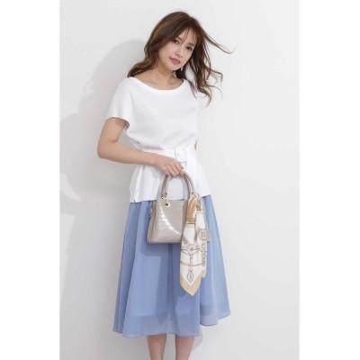 【プロポーション ボディドレッシング】 ギャザーフレアーボイルスカート レディース ブルー 3 PROPORTION BODY DRESSING