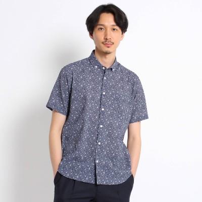 タケオ キクチ TAKEO KIKUCHI 【Sサイズ~】フラワー千鳥プリント シアサッカーシャツ (ネイビー)