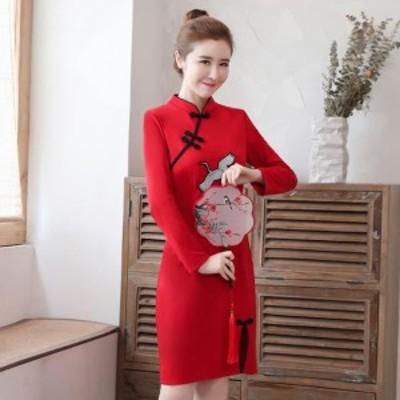 2点送料無料 レディース ワンピースドレス 中国風 チャイナ風  ナチュラル エスニッ チャイナドレス 古代 スリム効果
