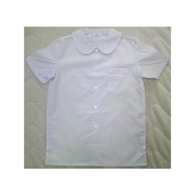 小学生用ショール丸衿ブラウス 145A〜160A 女子半袖ブラウス 手間なしノンアイロン 日本製 スクールシャツ 最高級吸水防汚加工 日清紡ブランド生地で白さが続く