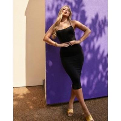 エイソス レディース ワンピース トップス ASOS DESIGN minimal multiway strap cami bodycon midi dress in black Black