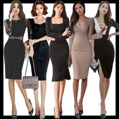 韓国ファッション  新作入荷   OL、正式な場合、礼装ドレス/セクシーなワンピース、一字肩/二点セット、側開、深いVネック/やせて見える、ハイウエスト ロング/ワンピース