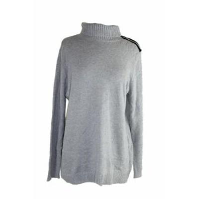 ファッション トップス Charter club platinum ribbed-knit zipper folding neck jersey xl