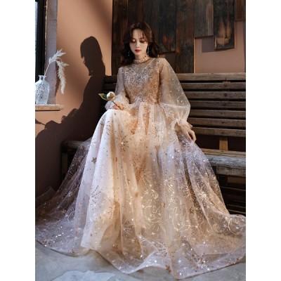 パーティードレス 安い 可愛い イブニングドレス 結婚式 披露宴 チュール 刺繍 カラードレス 花嫁 ブライダル ロングドレス