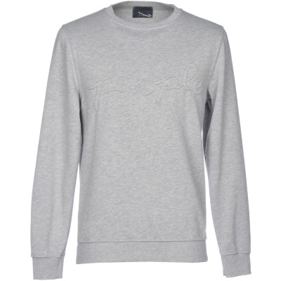 プラスピープル (+) PEOPLE スウェットシャツ ライトグレー S コットン 100% スウェットシャツ