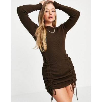 アイソウイットファースト I Saw It First レディース ワンピース ミニ丈 ワンピース・ドレス Knitted Ruched Detail Mini Dress In Chocolate チョコレート