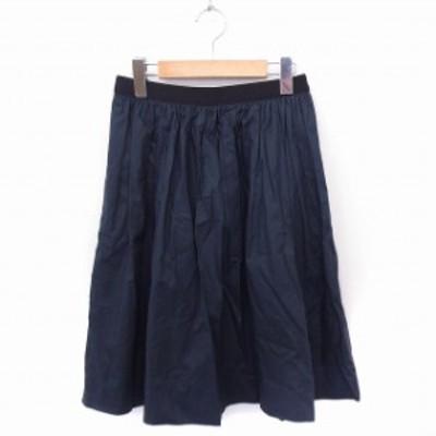 【中古】シップス SHIPS スカート リバーシブル チュール 無地 ギャザー ひざ丈 綿 ネイビー 紺 ブラック 黒 /FT3