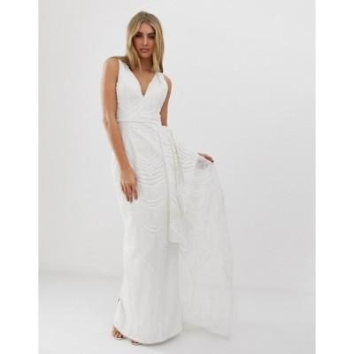 バリアーノ レディース ワンピース トップス Bariano bridal sequin maxi dress with detachable skirt in white
