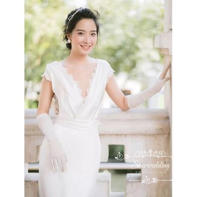 ウェディングドレス 結婚式 花嫁 サテン ギリシャ風 Vネック レース シースル 背中開き カクテルドレス イブニングドレス パーティードレス 優しい エレガンス