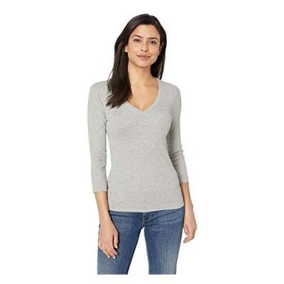 スリードッツ Tシャツ トップス カットソー レディースThree Dots 100% Cotton Heritage Knit 3/4 Sleeve Deep V-NeckGranite