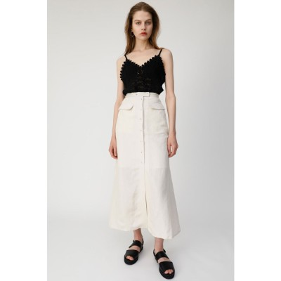 マウジー moussy FRONT BUTTON LINEN BLEND SKIRT (アイボリー)