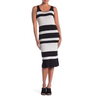 キャサリンマランドリーノ レディース ワンピース トップス Sleeveless Scoop Neck Stripe Sweater Dress BLACK/CREA