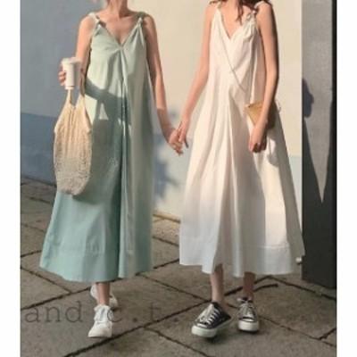 ゆったりVネック夏ワンピース 韓国 無地シンプル ノースリーブロングドレス マキシ丈 白ミントグリーン