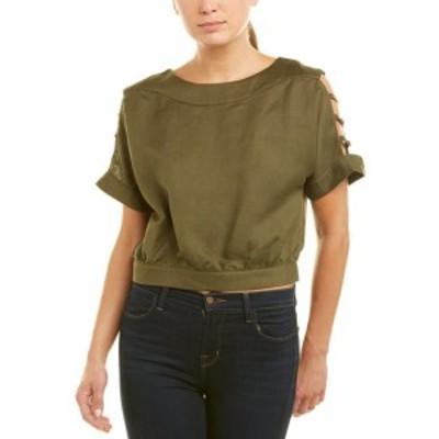 ファッション トップス J.O.A . Cutout Sleeve Linen-Blend Top Xs Green