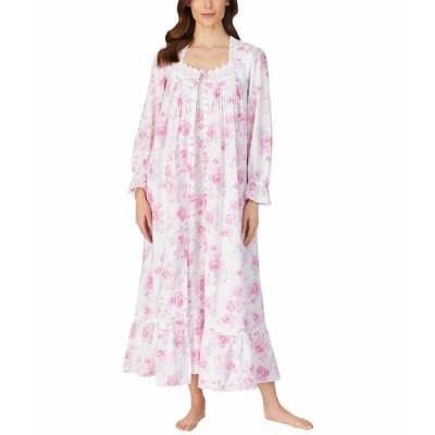 エイレーンウェスト ナイトウェア アンダーウェア レディース Cotton Lawn Woven Long Sleeve Ballet Nightgown White Ground Rose Floral