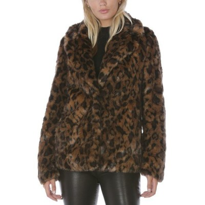 タハリ コート アウター レディース Leopard-Print Faux-Fur Coat,  Leopard