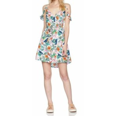 Roxy ロキシー ファッション ドレス Roxy Womens White Size Medium M Floral Print Cold Shoulder Wrap Dress