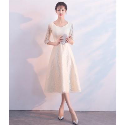パーティードレス 結婚式 ドレス ショートドレス カラードレス ウェディングドレス 二次会ドレス 花嫁 ドレス ミニドレス 成人式  披露宴ドレス[シャンペン色]