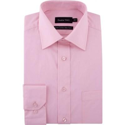 ダブルTWO Double Two メンズ シャツ トップス 100% Cotton Poplin Shirt Pink