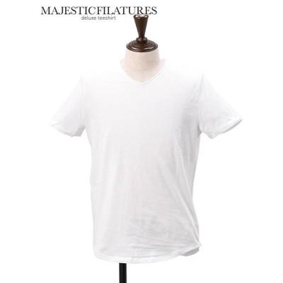 マジェスティック フィラチュール MAJESTIC FILATURES HOMME  国内正規品 メンズ 半袖Tシャツ Vネック    ホワイトコットン