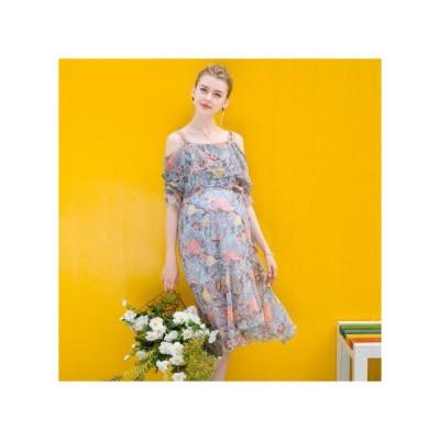オフショル フローラル マタニティドレス フォーマル パーティードレス お呼ばれドレス kh-1135